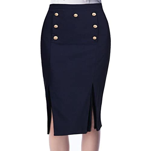 Missmay Women's Vintage Panel Split Wrap Style Business Pencil Skirt