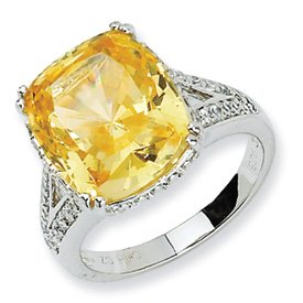 Genuine IceCarats Designer Jewelry Gift Sterling Silver Canary & White Cz Ring Size 7.00