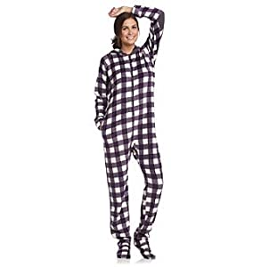 Cuddl Duds Sleepwear Hoodie-Footie - Purple Buffalo Check Womens Size Medium