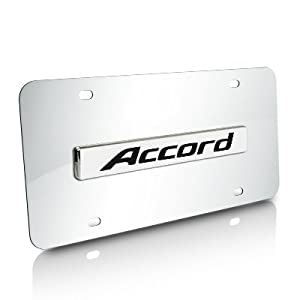 honda accord name chrome steel license plate. Black Bedroom Furniture Sets. Home Design Ideas