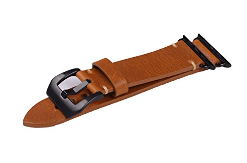 Apple Watch Band ,Vintage Vegetable Tanned Leather Watch Band For I Watch 42mm With Black Adaptor Light Brown 5