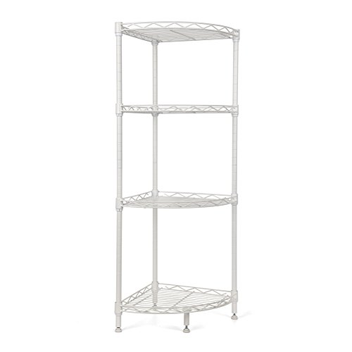 Homfa 4-Tire Wire Corner Storage Shelves Free Standing Bathroom Corner Shelf Corner Rack Display Shelf Kitchen Storage Wire Shelving, White