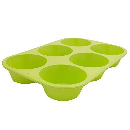 Marathon Housewares KW200010GR Premium Silicone 6 Cup Standard Size Muffin Pan, Green
