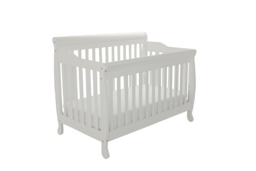 Athena Alice 3 in 1 Crib with Toddler Rail, White