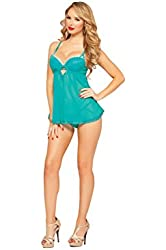Seven Til Midnight Women's Teal Appeal Mesh and Lace Babydoll and Thong Set