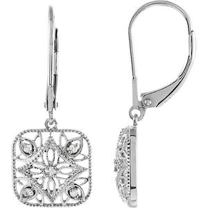 Genuine IceCarats Designer Jewelry Gift Sterling Silver Diamond Lever Back Earrings. Pair/1/10 Ct Tw Diamond Lever Back Earrings In Sterling Silver