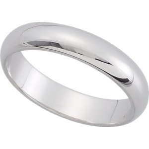 Platinum Half Round Wedding Band : 4MM: Size 7