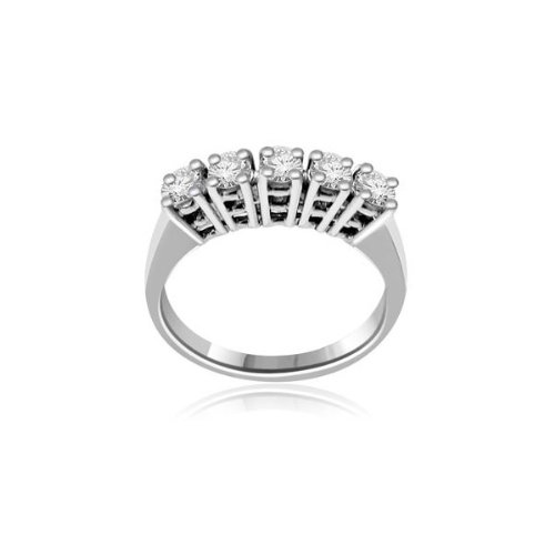 0.60 carat Diamond Half Eternity Ring for Women. H/SI1 Round Brilliant Diamonds in 4 Claw Setting in 18ct White Gold
