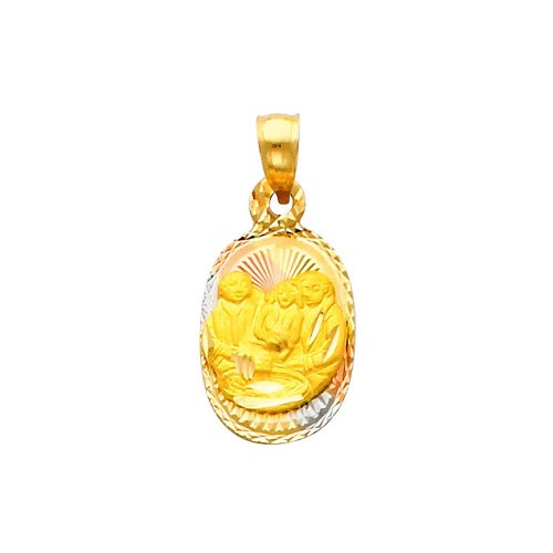 14K 3 Tri-color Gold Dia-Cut Religious Baptium Stamp Charm Pendant