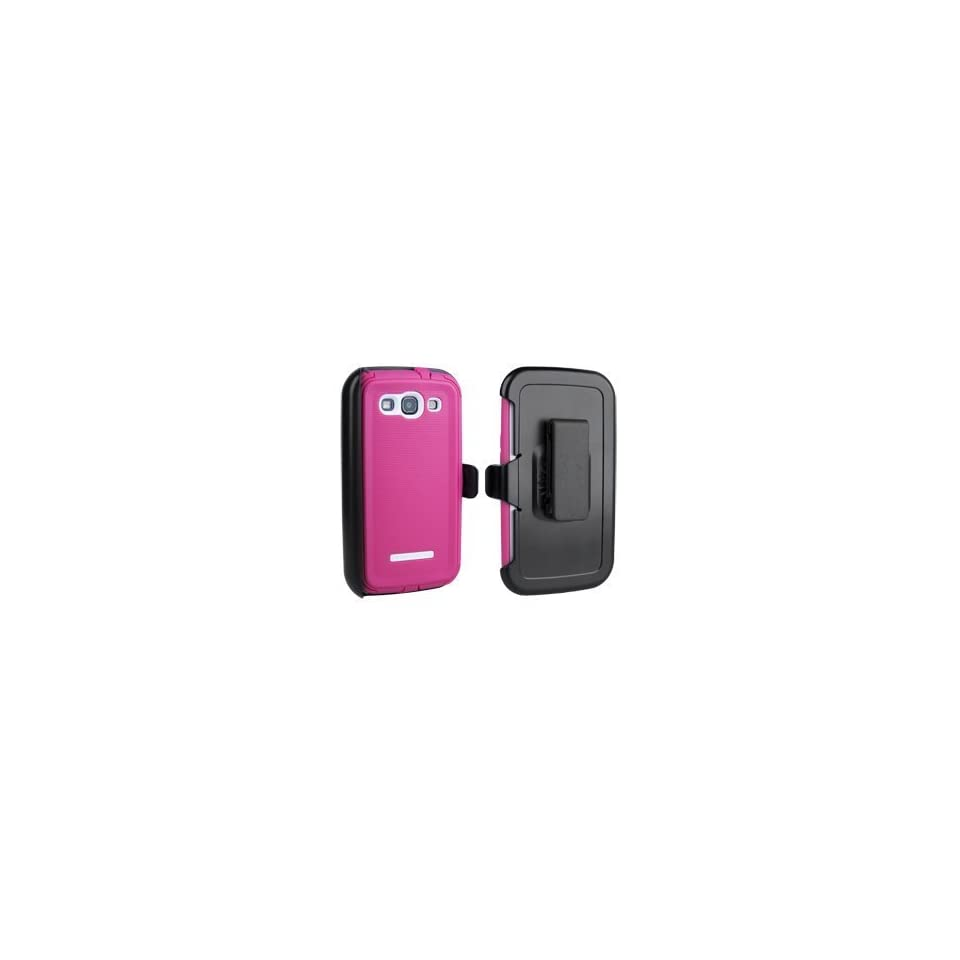 Body Glove ToughSuit Case w/ Holster Belt Clip for Samsung Galaxy S III   Pink w.White on Black Holster