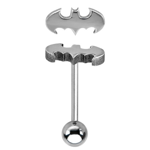 Batman Logo Barbell Tongue Ring - Officially Licensed (Logo Tongue Rings compare prices)