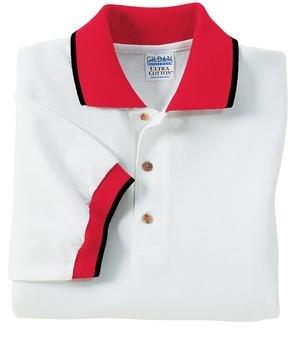 Gildan Ultra Cotton - Pique Knit Sport Shirt with Wide Stripe Trim White/Red/Black-S - Buy Gildan Ultra Cotton - Pique Knit Sport Shirt with Wide Stripe Trim White/Red/Black-S - Purchase Gildan Ultra Cotton - Pique Knit Sport Shirt with Wide Stripe Trim White/Red/Black-S (Gildan, Gildan Mens Shirts, Apparel, Departments, Men, Shirts, Mens Shirts, Casual, Casual Shirts, Mens Casual Shirts)