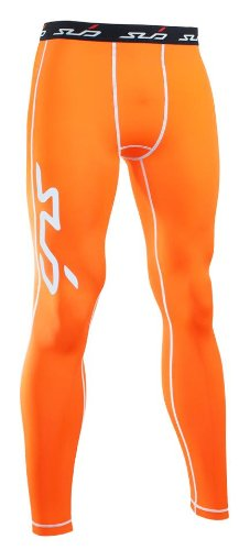 Sub Sports Men's Dual Compression Baselayer Leggings/Tights - Orange, X-Large