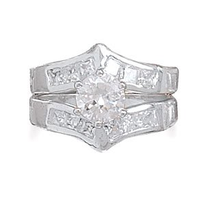 Sterling Silver Rhodium Plated Two Piece CZ Ring Set with 6.8mm Center CZ / Size 8