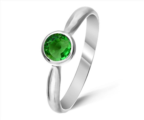 Timeless 9 ct White Gold Ladies Solitaire Engagement Ring with Tsavorite 0.25 ct