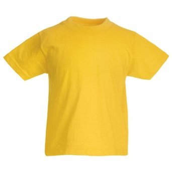 Fruit Of The Loom Boy's SS132B Short Sleeve T-Shirt, Yellow, Large (Manufacturer Size:32)
