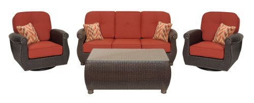 Breckenridge 4 Piece Patio Furniture Set: Two Swivel Rockers, Sofa, and Coffee Table (Brick Red, Wicker) by La-Z-Boy Outdoor image