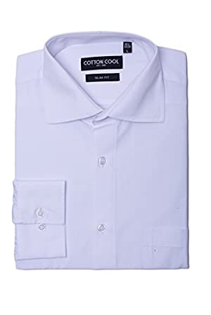 Cotton Cool Men's Slim Fit Solid Non-Iron Long Sleeve Dress Shirt - White, 4XL
