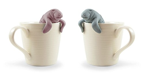 Big Save! Tea Infuser Gift Set Mr and Mrs Manatea for Loose Leaf Tea, Set of 2, Grey and Pink