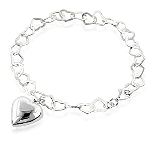 Sterling Silver Heart Link Bracelet with Puffed Heart Charm 7.5""