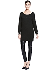 Autograph Stud Embellished Knitted Tunic Dress with Angora