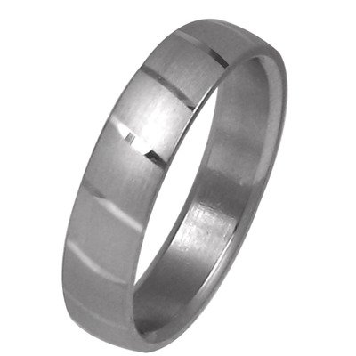 Men's Dual Polish Striped Wedding Band Ring Size: 10.5