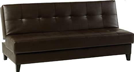 Vanya Faux Leather Sofa Bed-Espresso Brown
