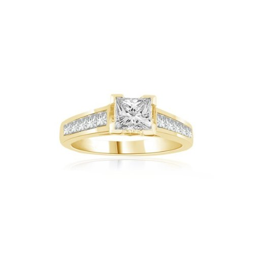 0.60 carat Diamond Engagement Ring for Women. H/SI1 Solitaire Princess Cut with Shoulder set Diamonds 18ct Yellow & White Gold