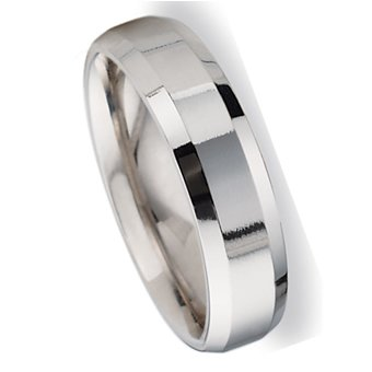6.0 Millimeters High Polished White Gold Wedding Band Ring 10Kt, Comfort Fit Style SE29-626W4, Finger Size 8
