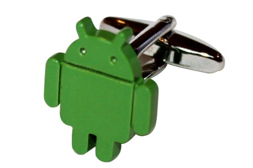 Green Android Robot Phone Cufflinks + Free Box & Cleaner front-583356