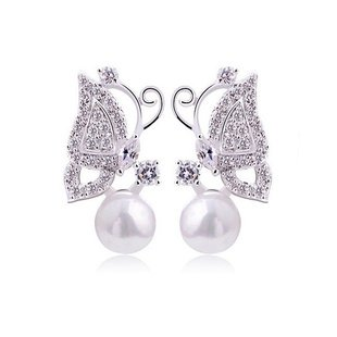 Ladies Silver Butterfly Pearl Earrings with Austrian Swarovski Crystals For Women