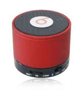 High Qaulity Wireless Speaker Monster Beatbox Bluetooth Speaker with 3.5mm Aux Port, Enhanced Bass Boost, Built in Mic Speaker System, Rechargeable Battery -Red