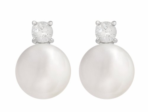 JanKuo Stud Pearl Earring with a CZ Cubic Zirconia on Top Held in a Four-Prong Basket Setting with Gift Box