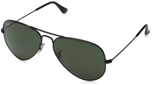 Ray-Ban RB3025 Aviator Large Metal Non-Polarized Sunglasses,Black Frame/Crystal Green G-15XLT Lens,58mm