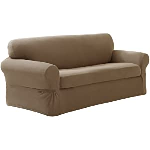 Maytex Pixel Stretch 2 Piece Sofa Slipcover Sand