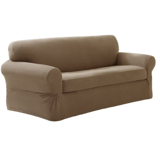 Maytex Pixel Stretch 2 Piece Slipcover Sofa Sand New Free Shipping