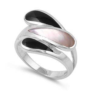 Rhodium Plated Sterling Silver Wedding & Engagement Ring Black Onyx, Mother Of Pearl Ladies Ring 17Mm ( Size 5 To 9) Size 5