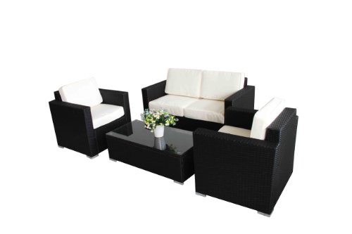 Outdoor rattan set 4 pcs sofa wicker sectional garden for 4 pcs sectional sofa