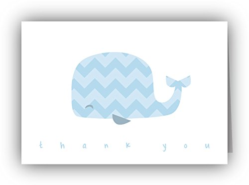Blue Chevron Whale Baby Thank You Cards - 24 Cards & Envelopes front-14973