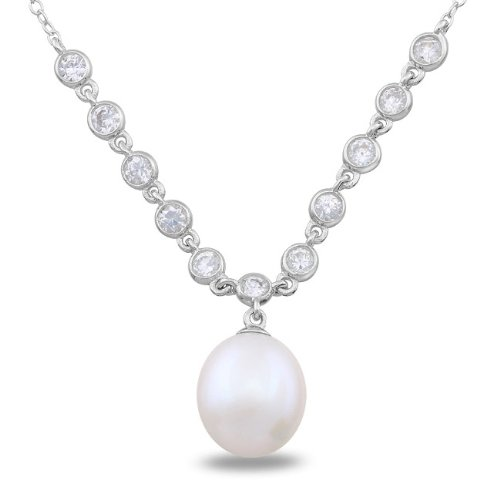 Sterling Silver Cubic Zirconia and Pearl Necklace (9-9.5 mm)