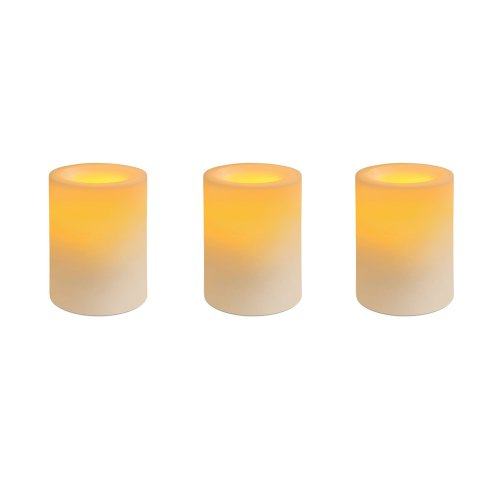 Inglow CGT25664CR3R Flameless Candles Round Pack of 3 4-Inch Pillars with Timer and Remote, Cream, Vanilla Scented