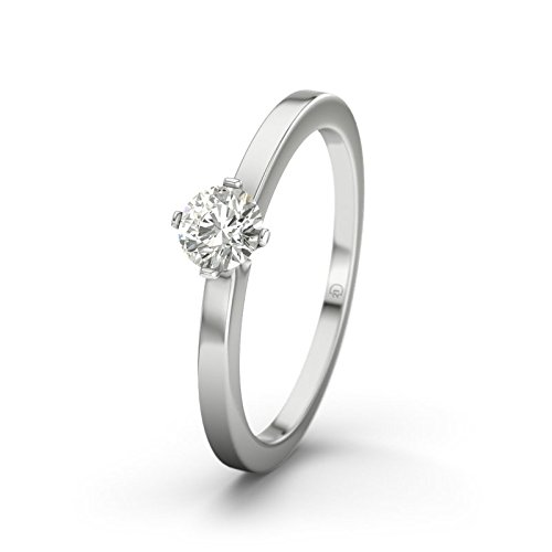 21DIAMONDS Women Ring Long Island 0.25 ct Brilliant Cut Diamond Engagement Ring, 18ct White Gold Engagement Ring
