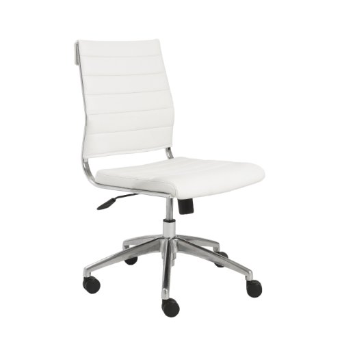 Eurø Style Axel Low Back Soft Leatherette Adjustable Armless Office Chair with Chromed Steel Frame, White (A Sleek And Polished compare prices)