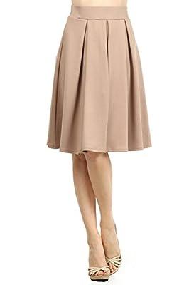 Modern Kiwi® Emily Pleated Midi High Waisted Stretch Skirt