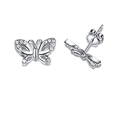 findout sterling silver Swarovski element diamond butterfly earrings . gift for women girls children (f568)
