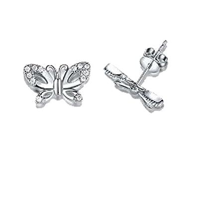 findout sterling silver Swarovski element diamond butterfly earrings . gift for women girls children (f568)