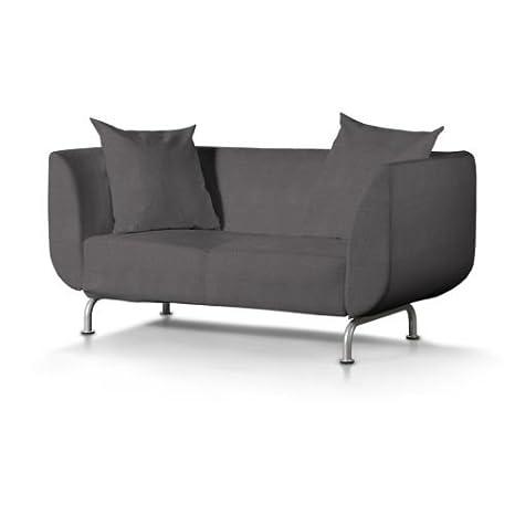Dekoria Strömstad 2-Sitzer Sofabezug dunkelgrau