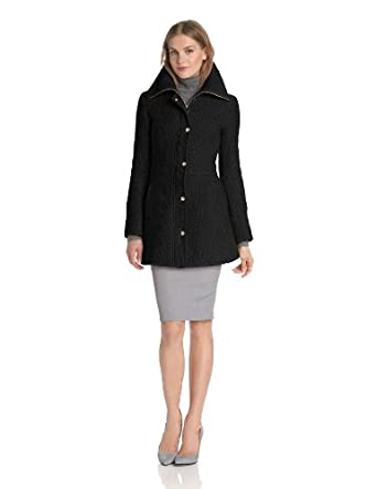 Jessica Simpson Women's Long Braided Wool Coat, Black, Large