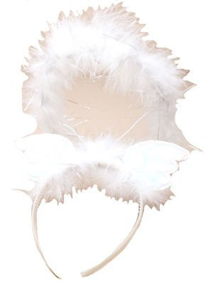White/Silver Iridescent Feather Angel Wings Alice Band Halo