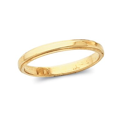 14K Yellow Gold, Flat Edged Wedding Band 2.5MM (sz 6.5)